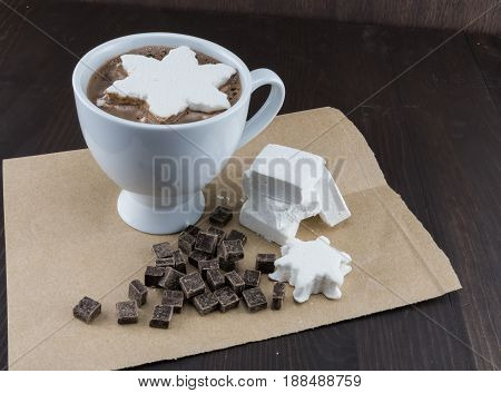 Angle View Of Hot Chocolate With Home Made Marshmallows