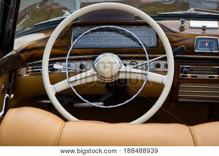BERLIN GERMANY - MAY 17 2014: Cabin of the luxury car Mercedes-Benz 220S (W180 II). 27th Oldtimer Day Berlin - Brandenburg