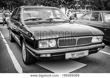 BERLIN GERMANY - MAY 17 2014: Executive car Lancia Gamma (Tipo 830). Black and white. 27th Oldtimer Day Berlin - Brandenburg