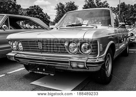 BERLIN GERMANY - MAY 17 2014: Large executive car Fiat 130. Black and white. 27th Oldtimer Day Berlin - Brandenburg