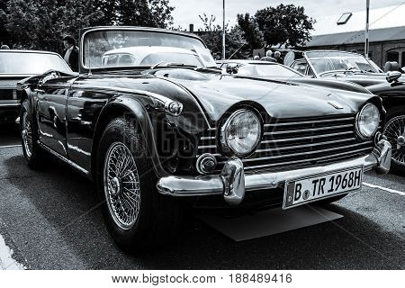 BERLIN GERMANY - MAY 17 2014: Sports car Triumph TR5. Black and white. 27th Oldtimer Day Berlin - Brandenburg