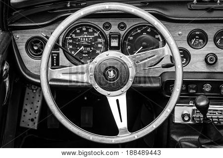 BERLIN GERMANY - MAY 17 2014: Cabin of the sports car Triumph TR5. Black and white. 27th Oldtimer Day Berlin - Brandenburg