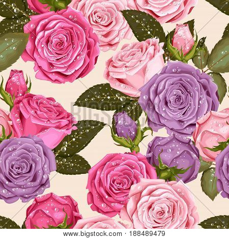 Beautiful roses with drops of dew vector seamless background