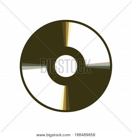 Vector CD or DVD sign. Vector. Colorful icon shaked with vertical axis at white background. Isolated.