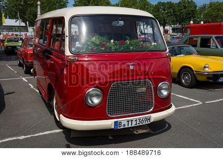 BERLIN GERMANY - MAY 17 2014: Minibus Ford Taunus Transit (Ford FK 1000/1250). 27th Oldtimer Day Berlin - Brandenburg