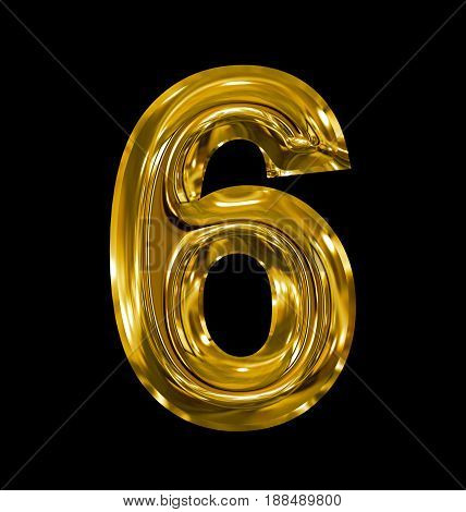 Number 6 Rounded Shiny Golden Isolated On Black
