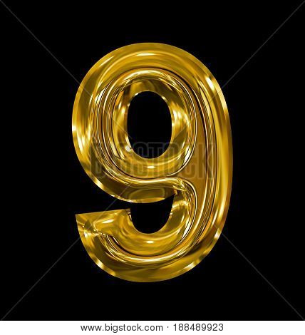 Number 9 Rounded Shiny Golden Isolated On Black
