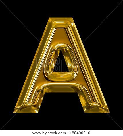Letter A Rounded Shiny Golden Isolated On Black
