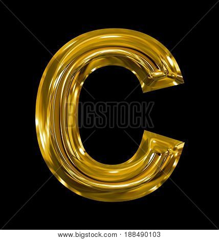 Letter C Rounded Shiny Golden Isolated On Black