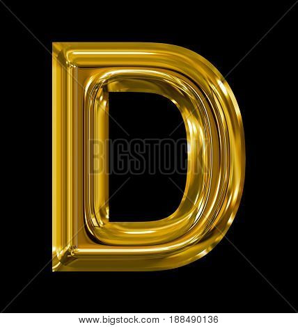 Letter D Rounded Shiny Golden Isolated On Black