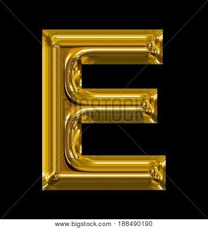 Letter E Rounded Shiny Golden Isolated On Black