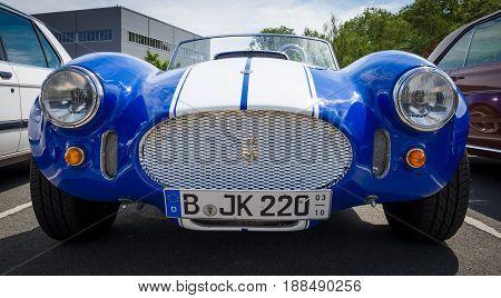 BERLIN GERMANY - MAY 17 2014: Replica sports car Shelby AC Cobra. Manufactured by Saier Automobilbau. 27th Oldtimer Day Berlin - Brandenburg