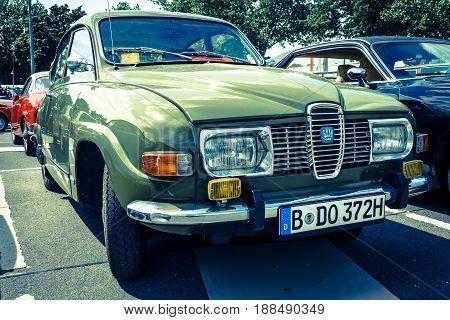 BERLIN GERMANY - MAY 17 2014: Compact car Saab 96. Toning. Imitation cross-process. 27th Oldtimer Day Berlin - Brandenburg