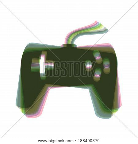 Joystick simple sign. Vector. Colorful icon shaked with vertical axis at white background. Isolated.