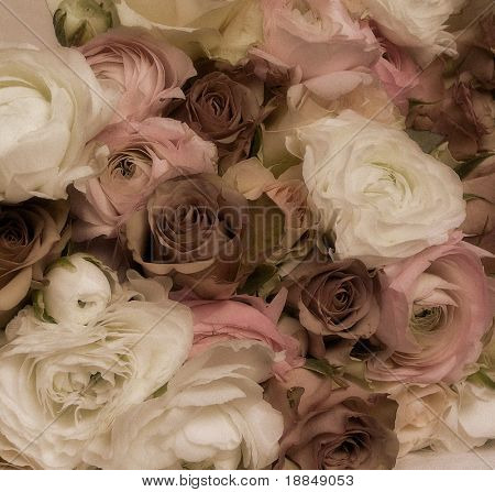 early color photographic reproduction showing an extraordinary abundant and beautiful wedding bouquet