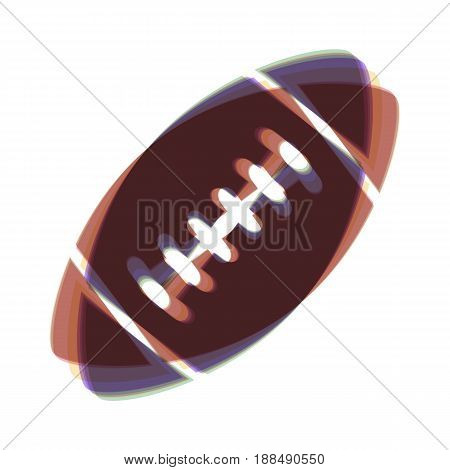American simple football ball. Vector. Colorful icon shaked with vertical axis at white background. Isolated.