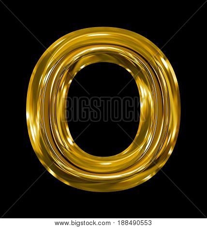 Letter O Rounded Shiny Golden Isolated On Black