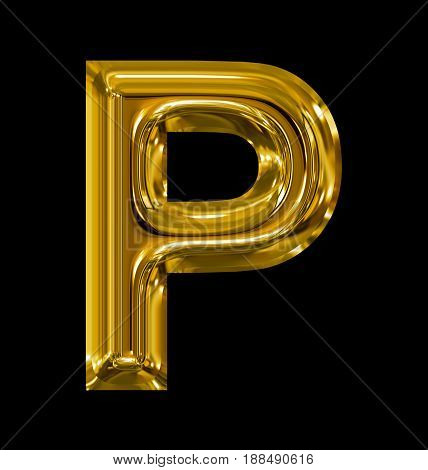 Letter P Rounded Shiny Golden Isolated On Black