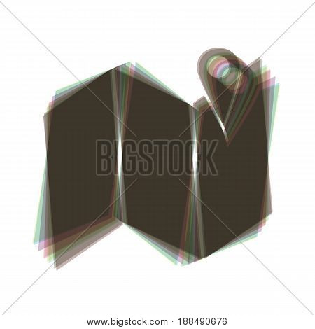 Pin on the map. Vector. Colorful icon shaked with vertical axis at white background. Isolated.