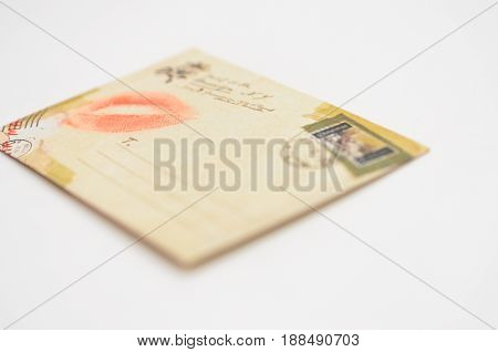 Envelope with kiss from lips Message from the enamored girl