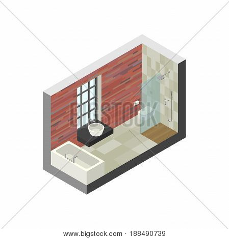 Bathroom in isometric view. Vector illustration of bathroom with brick wall and window.
