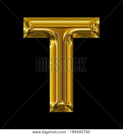 Letter T Rounded Shiny Golden Isolated On Black