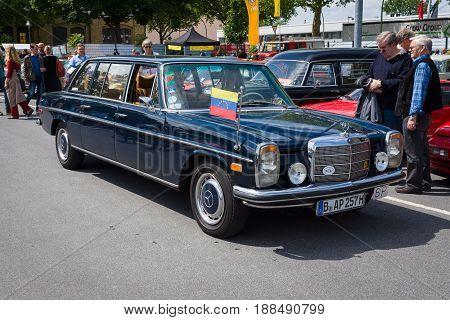 BERLIN GERMANY - MAY 17 2014: Executive car Mercedes Benz 220 Diesel (W115) Lang. 27th Oldtimer Day Berlin - Brandenburg