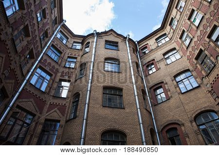 Yard-well kind of bottom-up, typical architecture of old Saint Petersburg, Russia