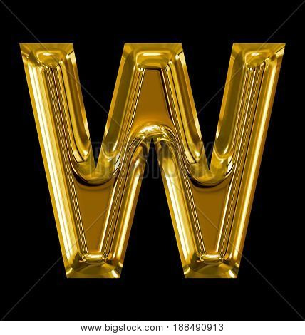 Letter W Rounded Shiny Golden Isolated On Black