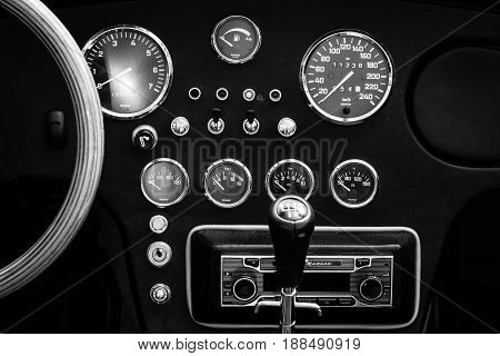 BERLIN GERMANY - MAY 17 2014: Detail of cabin Shelby AC Cobra. Black and white. 27th Oldtimer Day Berlin - Brandenburg