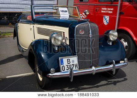 BERLIN GERMANY - MAY 17 2014: Luxury car Opel Super 6 Cabriolet. 27th Oldtimer Day Berlin - Brandenburg