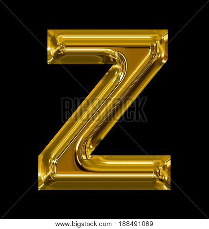 Letter Z Rounded Shiny Golden Isolated On Black