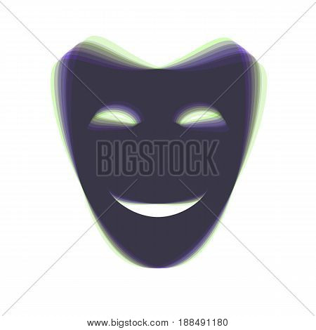 Comedy theatrical masks. Vector. Colorful icon shaked with vertical axis at white background. Isolated.