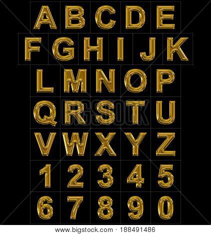 Letters And Numbers Rounded Shiny Golden Isolated On Black
