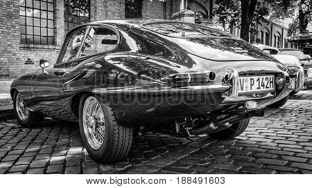 BERLIN GERMANY - MAY 17 2014: Sports car Jaguar E-Type 4.2. Rear view. Black and white. 27th Oldtimer Day Berlin - Brandenburg