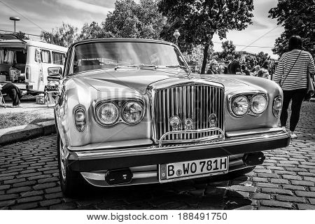 BERLIN GERMANY - MAY 17 2014: Full-size luxury car Bentley T2. Black and white. 27th Oldtimer Day Berlin - Brandenburg