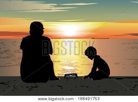 Father and son sitting together on the beach and watching sunset. Available eps-10 vector format separated by groups and layers.