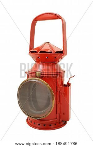 Old red signall lamp on white background