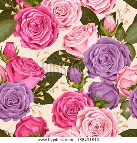 Beautiful roses, buds and leaves vector seamless background