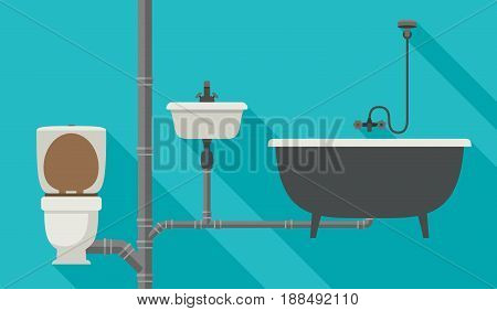 Sewer system with pipes, toilet, bath and sink. Vector flat banner of engineering sewer pipes system with long shadow.