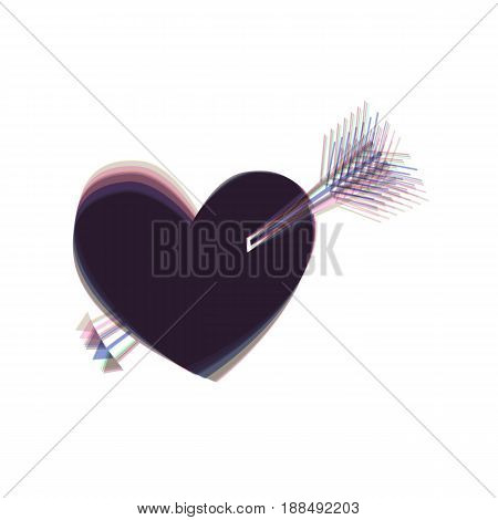 Arrow heart sign. Vector. Colorful icon shaked with vertical axis at white background. Isolated.