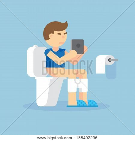 Man sitting on toilet with an electronic tablet vector illustration. Man intoilet uses a tablet on blue background