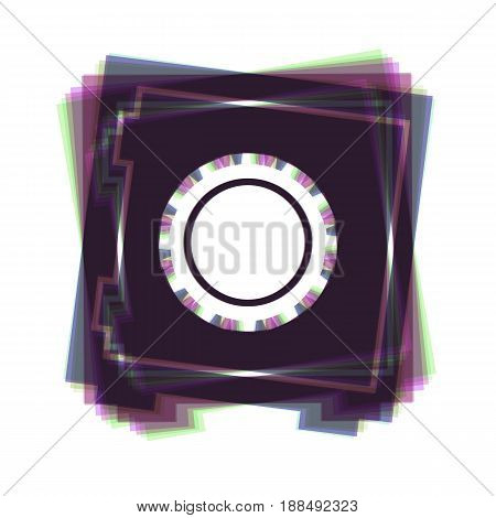Safe sign illustration, crib, vault, lock box. Vector. Colorful icon shaked with vertical axis at white background. Isolated.
