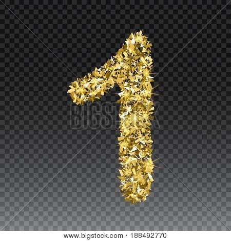 Gold glittering number one. Vector shining golden font figure lettering of sparkles on checkered background.