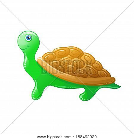cute green cartoon turtle. Vector kids animal.