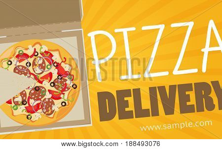 Pizza Box Vector Advertisement Banner. Pizza Box Delivery Service.