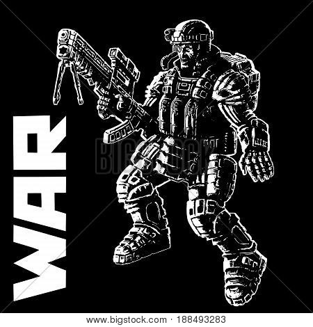 Heavy infantry in armor suit. Vector illustration. Cool art for cover web icons and print.