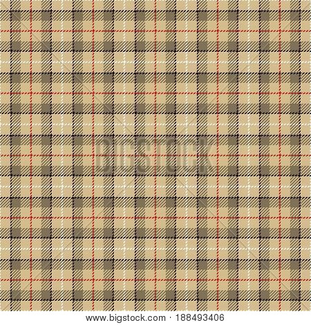 Tartan Seamless Pattern Background. Camel Beige Red Black and White Plaid Tartan Flannel Shirt Patterns. Trendy Tiles Vector Illustration for Wallpapers.