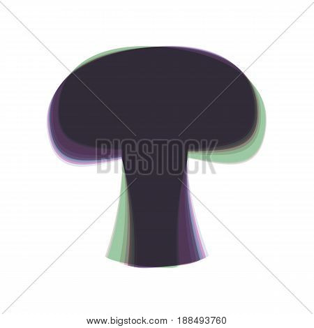 Mushroom simple sign. Vector. Colorful icon shaked with vertical axis at white background. Isolated.