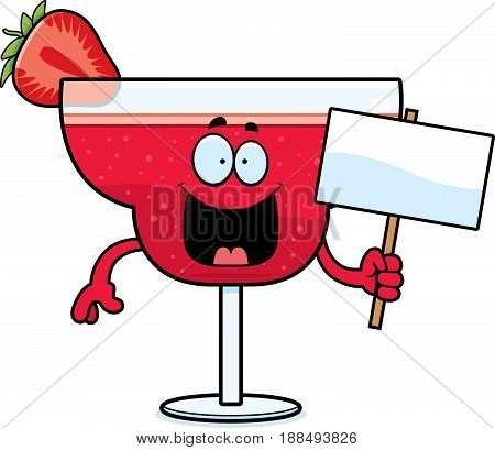 Cartoon Strawberry Daiquiri Sign